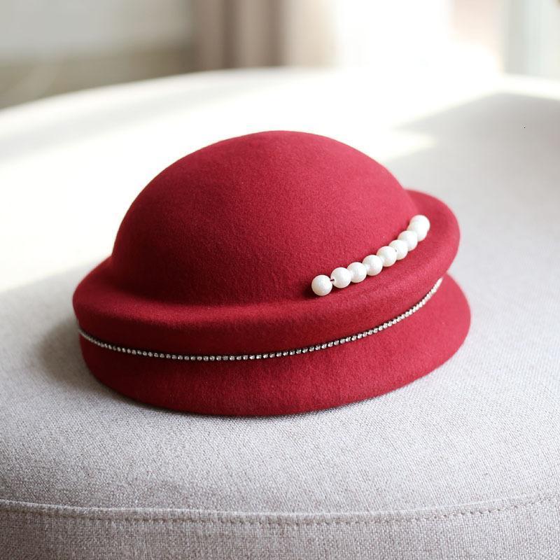 Cappello del temperamento del temperamento della decorazione della catena della catena della perla del banchetto delle donne di lana per i bambini