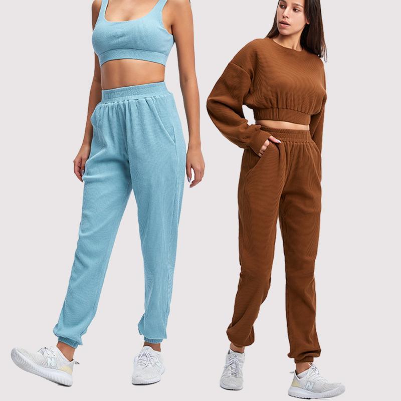 2021 Sólida Moda Feminina Sobrevetimento Sobrevetimento Femme Set 2 Peça Com Bolsos Sportswear Athletic Wear Juntos Mulheres Roupas