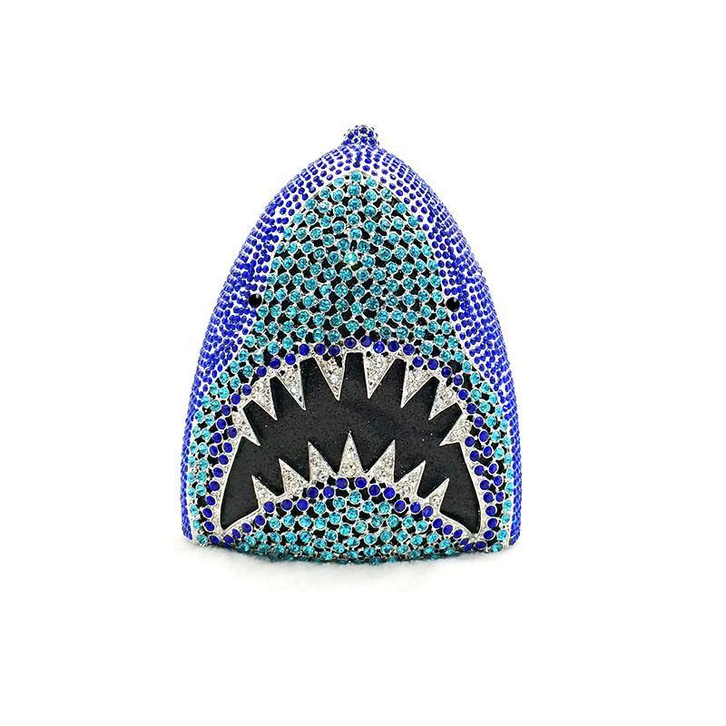 Животно-дизайнер Большой акула голова сумка женская вечерняя вечеринка сумка бриллиант кристалл кошельки свадебные свадьбы кристальные кладки