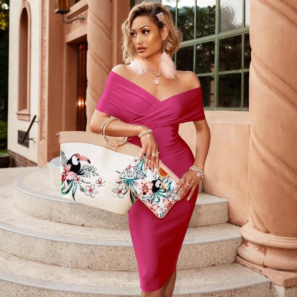 ADYCE New Summer Off Shoulder Bandage Dress Women 2021 Sexy Short Sleeve Midi Bodycon Club Celebrity Evening Runway Party Dress 210223