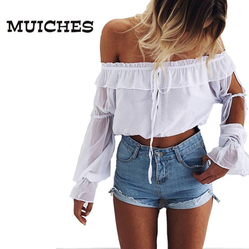 Muiches tiras con volantes Blusa de gasa camiseta Mujeres Cultivos Tops Off Spouder Blusa Blanca Hallow Out Blusas Verano 2017 Chemise Femme
