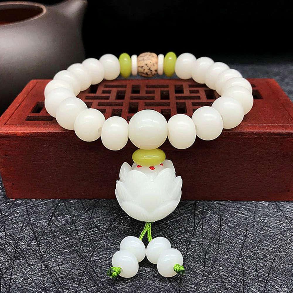 Doğal Beyaz Yeşim Bodhi Kök Bilezik 108 Bodhi Son Buda Boncuk El Dize Lotus Kök El Takı