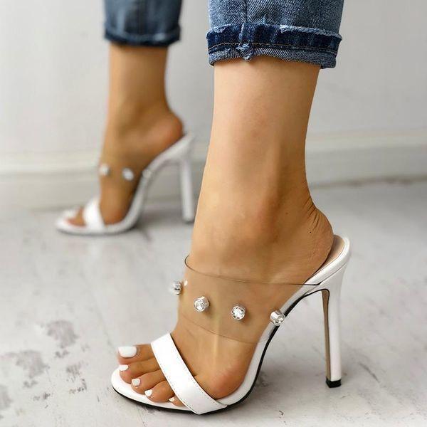2021 New Sexy Women Shiny Embelezado Open Toe Transparente Stiletto Sandálias Sandálias Mulheres Plus Size Sapatos Xo2x