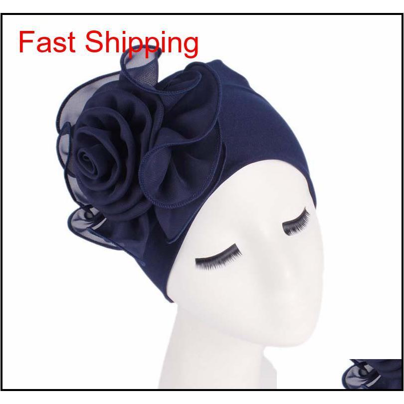 Mujeres grandes flor estiramiento bufanda sombrero señoras elegante moda accesorios de pelo quimioterapia ha qylbpz luckyhat