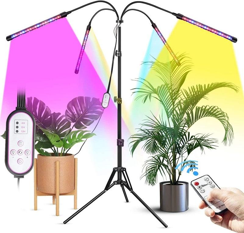 4 Head LED Grow Light with Tripod Stand for Indoor Plants Full Spectrum Floor Growth Lamp Dual Controllers 4/8/12H Timer