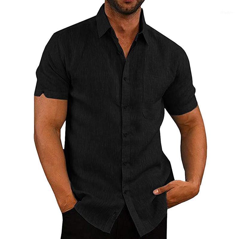 Mode Hommes Shirts Solide Manches courtes Respirant Office de bureau Homme Chemise Summer Casual Collier De Turndice Vêtements de base pour Nice1