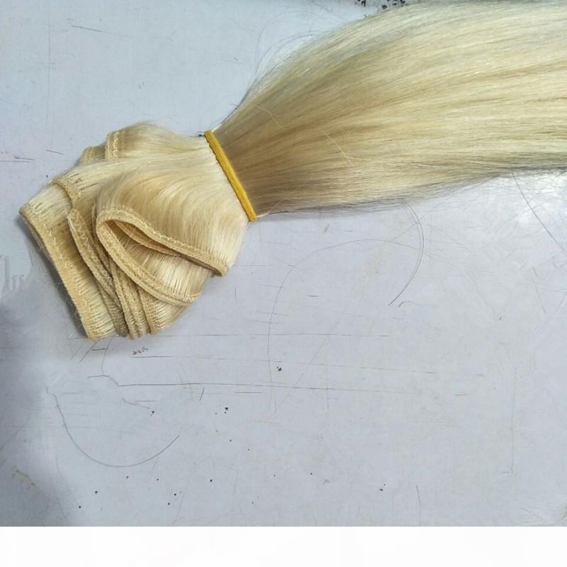 Extensões de cabelo do remy humano 3 peças definir 613 # loira de cabelos lisos 10-26inch produtos por atacado wafts duplos