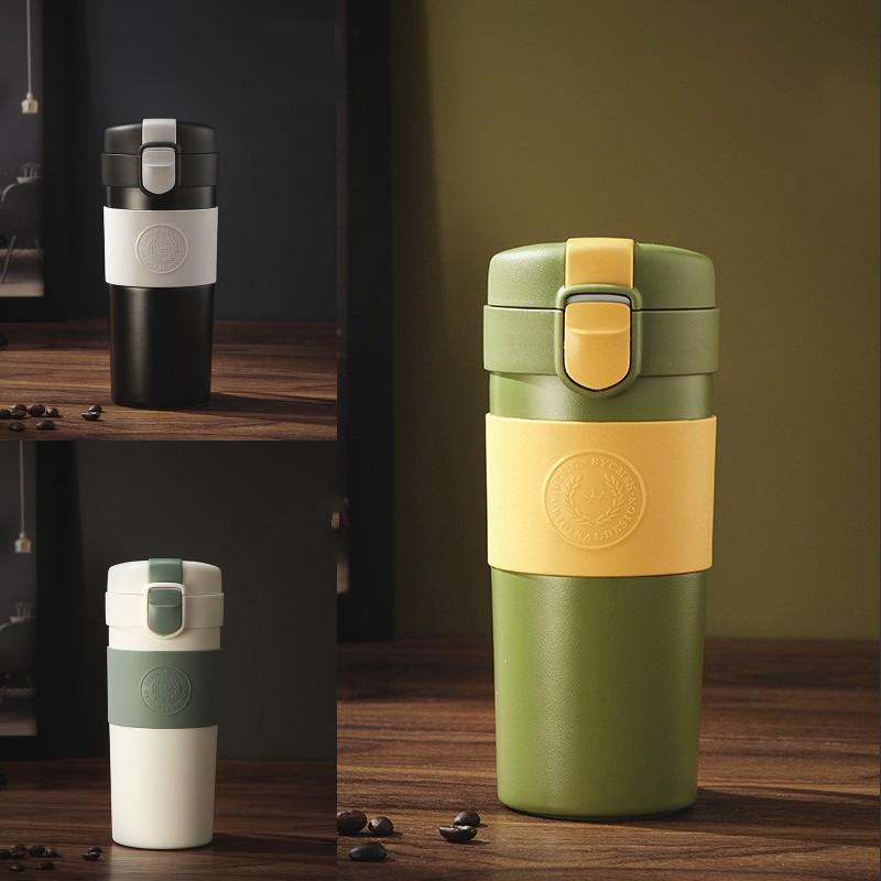 Tazza da caffè 13oz in acciaio inox 316 in acciaio inox tazza di caffè isolato sottovuoto con coperchi e corda appesa auto ufficio tazza di caffè