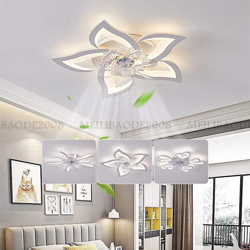 Lámpara de ventilador de techo de lámpara de araña creativa de acrílico de lujo nórdico Luz de lámpara de techo LED invisible Luces colgantes con ventilador para villas Salón Comedor Dormitorio Restaurante