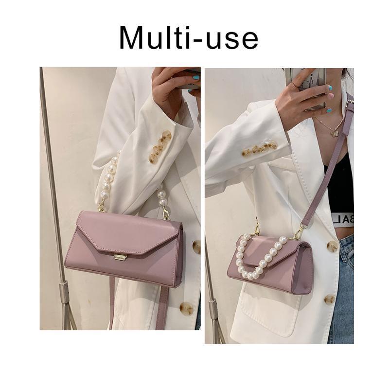 Color sólido PU Cadena cuadrada Cuero High Mujer Bolsa de Crossbody Bolsa de Hombro Bolso Bolso Pearl Quality Designer de lujo Xkukj
