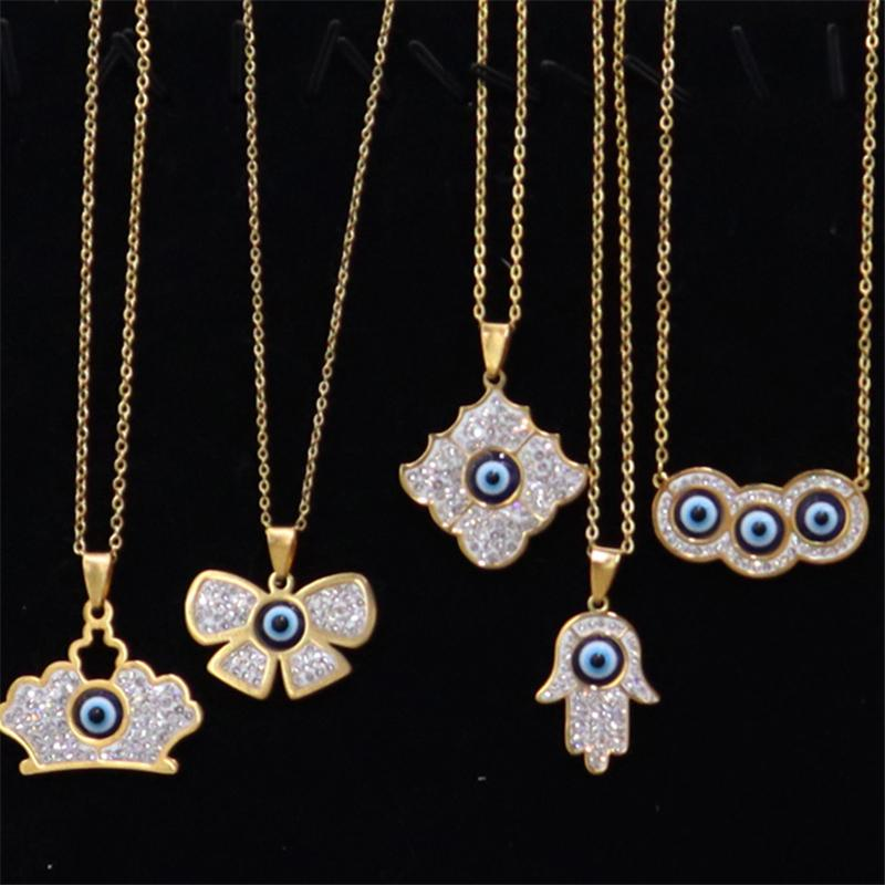 Turkish Blue Evil Eyes Necklaces Women Titanium Steel Crown Key Flower Animal Heart Iced Out Pendants Jewelry Fashion Diamond Necklace Gifts