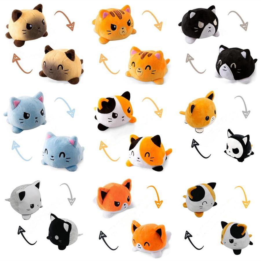 Doble cara gato gato gato niños regalo suave plushie felpa animales de doble cara peluche peluche para pulpos niña