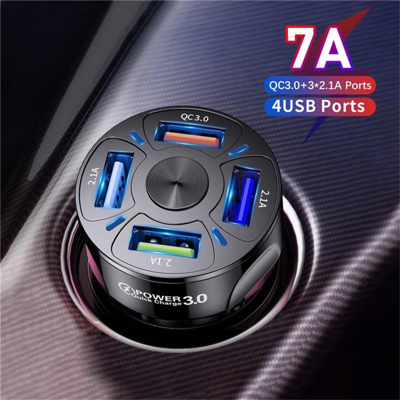4 ports Multi USB Car Chargeur 48W Quick 7A Mini Chargement rapide QC3.0 pour iPhone 12 Xiaomi Huawei Adaptateur de téléphone portable Appareils Android