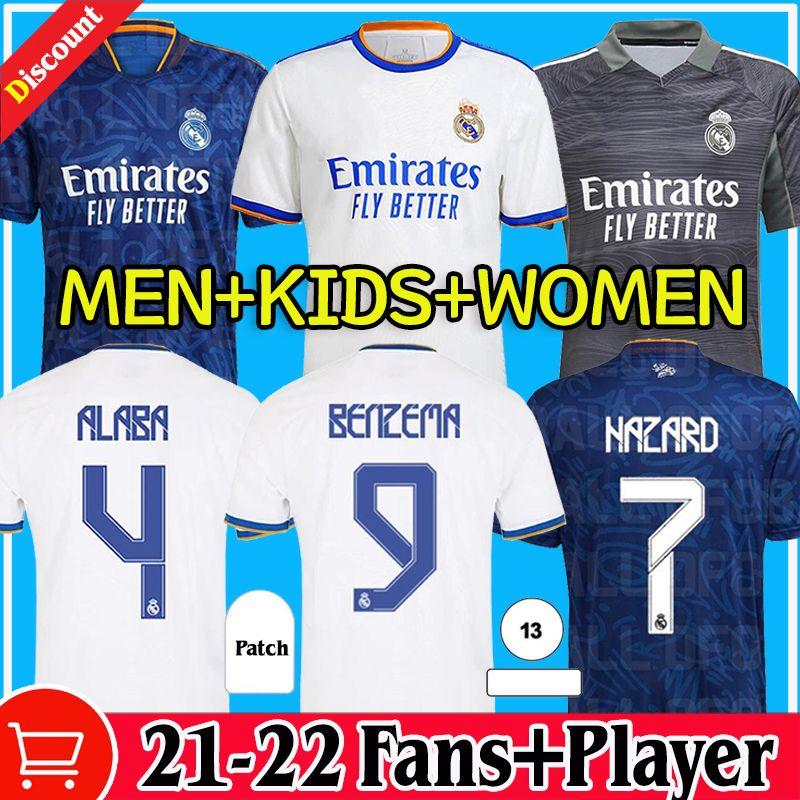 Реальные майки по футболу Madrid 21 22 Опасность Alaba Футбольные рубашки Benzema Asensio Модрик Marcelo CamiSeta Женщины Мужчины + Детские Кит Вентиляторы Версия 2021 2022 Униформа