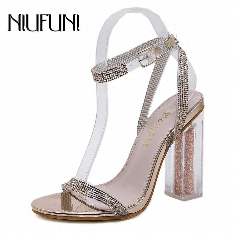 Niufuni 11 cm Seksi Peep Toe Rhinestone Toka Bayan Sandalet Şeffaf Yüksek Topuklu Kadınlar için Şeffaf Ayakkabı Sandalias Mujer Sandalet G e1zi #