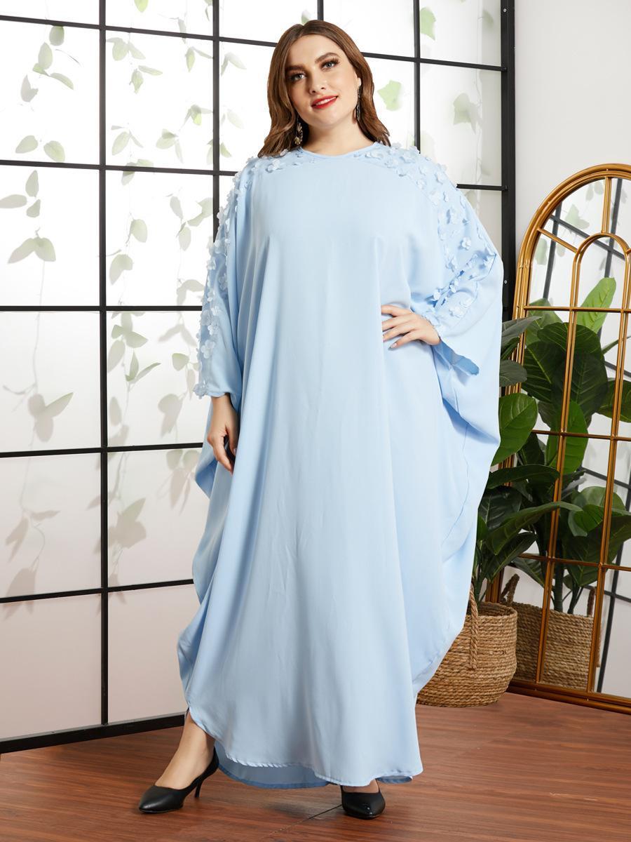 Müslüman Dubai Arap Abaya Elbise Kadın Batwing Kollu Başörtüsü Elbiseler Gevşek Kimono Jilbab İslam Giyim Fas Kaftan Ves SN8s