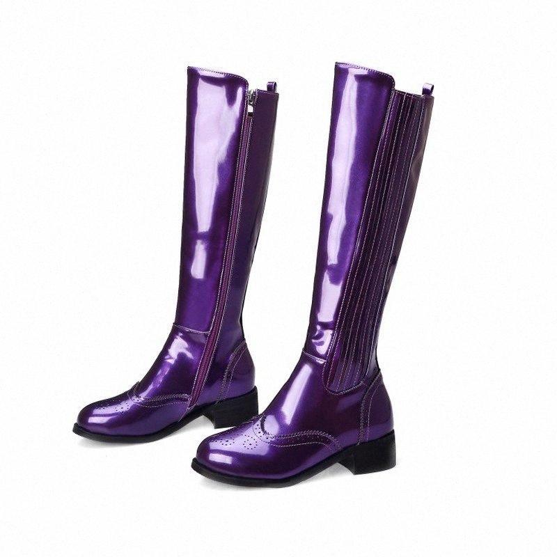 US4-11 Womens Round Toe Toe Carvado Joelho Alta Coxa Botas De Couro De Patente De Couro De Couro De Couro Sapatos De Zíper Oxfords Plus Size 3Color A1631 G84i #
