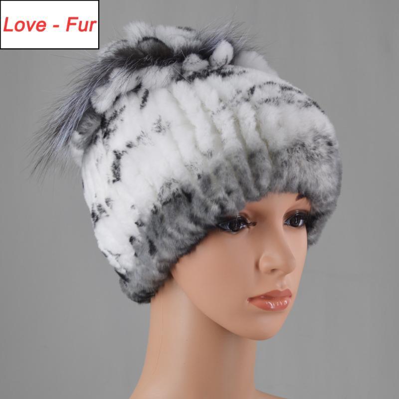 Шапочка / черепные колпачки зима Россия Женщины Real Rex Мешиные шапки вязаные полосатые чепухи Cap Headgear Цветы шапочки