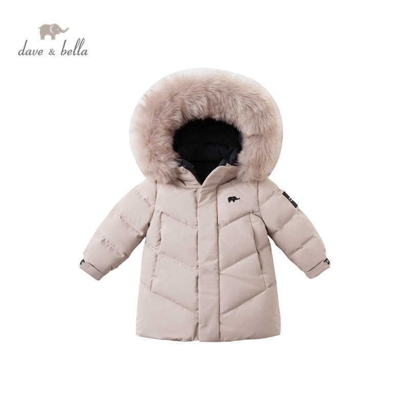 DB15627 데이브 벨라 겨울 아기 소년 패션 더블 착용 모피 후드 다운 코트 어린이 90 % 하얀 오리 아래로 패딩 키즈 자켓 Q0827