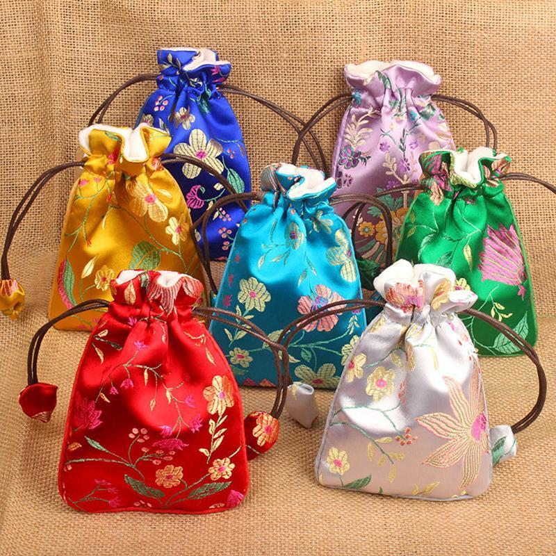 Schmuckbeutel, Taschen Elegant Blume Verdicken Drawstring Beutel Seide Brokat Tasche Geschenk Verpackung Samt Futter Münze Geldbörse Hochzeitsfeier Favor