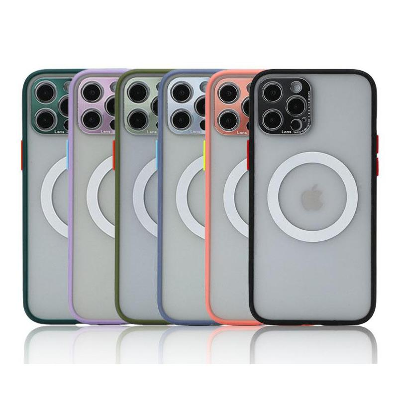 Magsafe Case for iPhone 12 11 Pro Max XR XS 7 8 Plus Transparent PC TPU Small Camera Holes Lens Protection Phone Cover