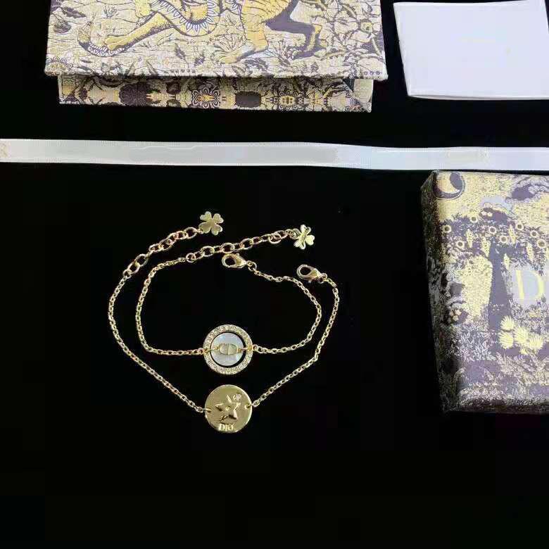 DIJIA D 홈 2021 새로운 CD 편지 팔찌 여성 다이아몬드 높은 버전 더블 팔찌 womenjbig