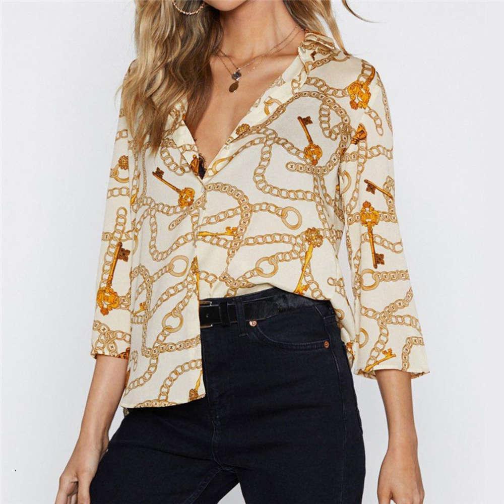 Новое поступление Женская одежда блузки рубашки бордюр цепь напечатанные отвороты семи рукава свободная рубашка размер S-3XL