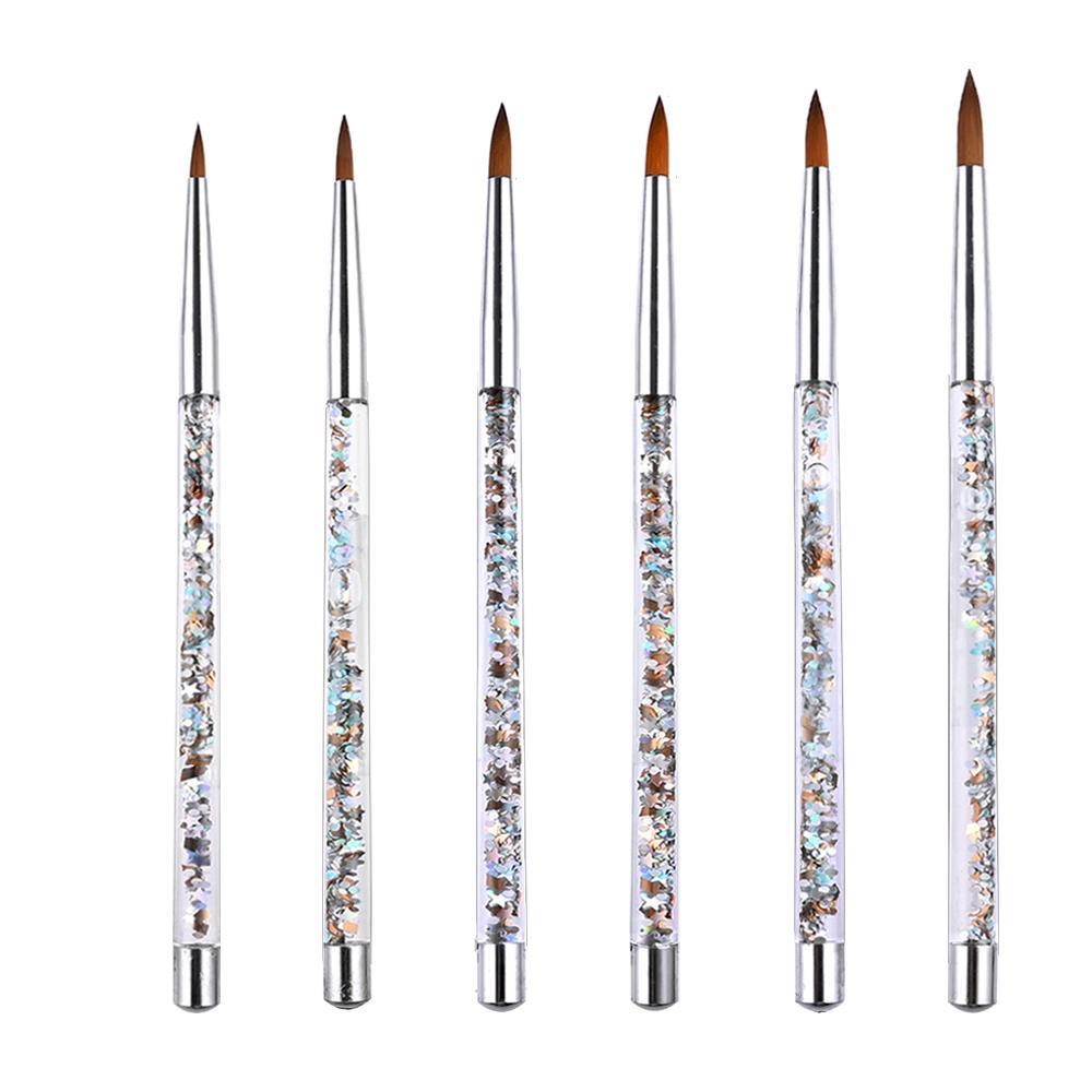 Profesyonel Tırnak Fırçalar Manikür UV Jel Fırça Kalem Şeffaf Akrilik Nail Art Boyama Çizim Fırçası Fototerapi Araçları