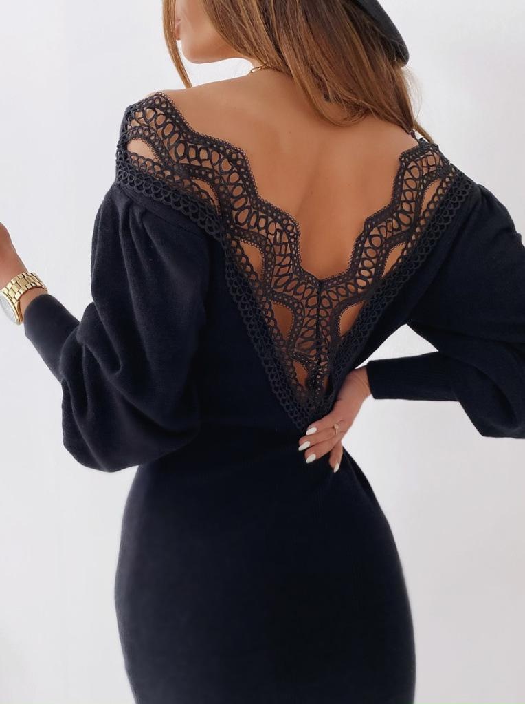 섹시한 백리스 레이스 패치 워크 드레스 여성을위한 가을 V- 목 랜턴 긴 소매 바디 콘 파티 드레스 봄 스웨터 2021 드레스