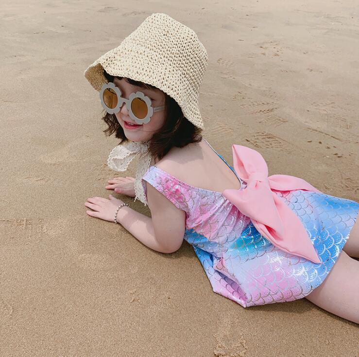 Волшебный ветер дети плавать девочку цельный купальник юбка большой лук принцесса купальный костюм сияющий детская одежда