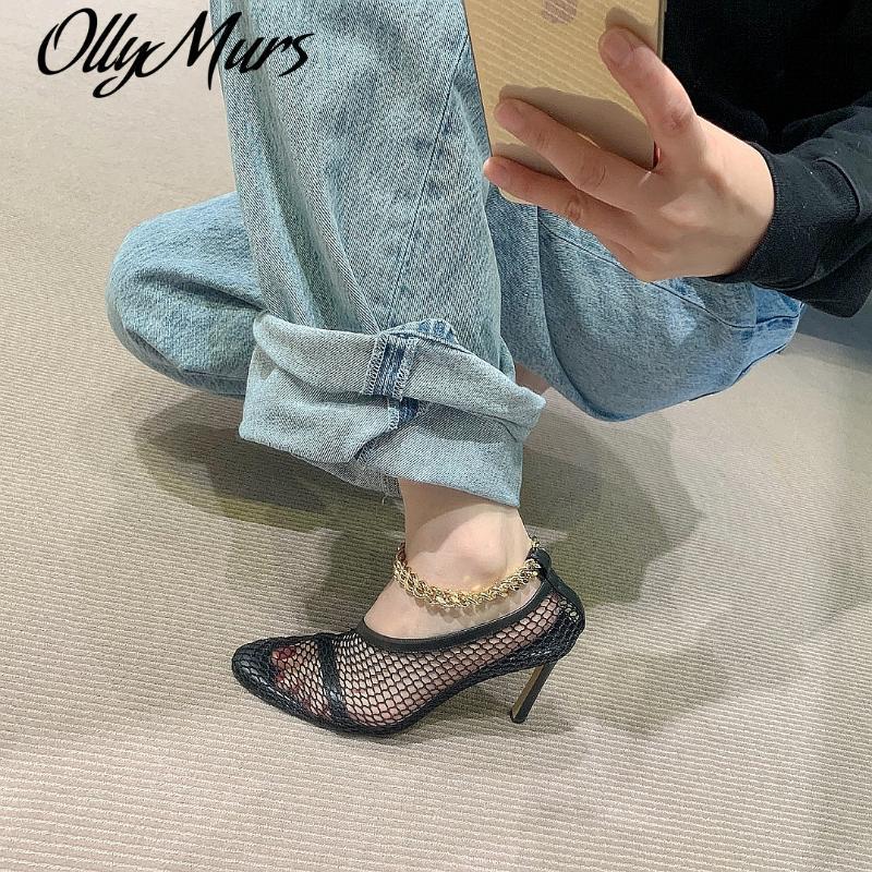 Zapatos de vestir ollymurs puntiagudo con punta gatito tacón de talón tacones altos 2021 diseñadores de lujo sapato fino feminino
