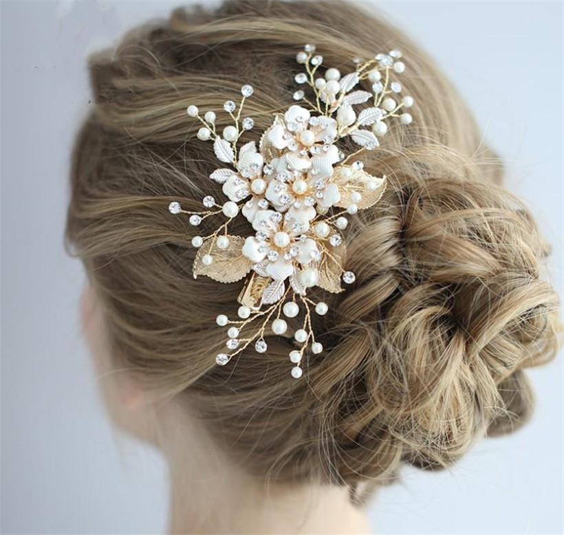 Luxuriöse Perle Haarspange Blume Kopfschmuck Hochzeit Braut Haarschmuck Gold Blätter Tiara Ornament Kopfschmuck Abschlussballkleid Zubehör Clips