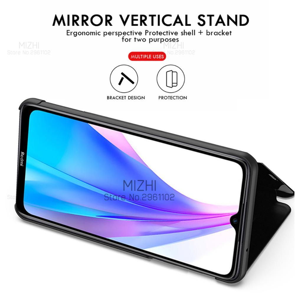 Pour Xiaomi Redmi Note 8T Case Smart Mirror View Case pour Xiaomi Redmi Note8T Note 8 T Étuis T8 Coque Permatique Couvercle de téléphone RedMinote8T