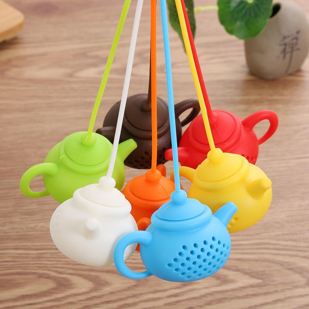 إبريق الشاي شكل الشاي مصفاة سيليكون الشاي حقيبة أوراق تصفية الناشر تقني إبريق الشاي التبعي أدوات المطبخ أدوات الشاي XD24535