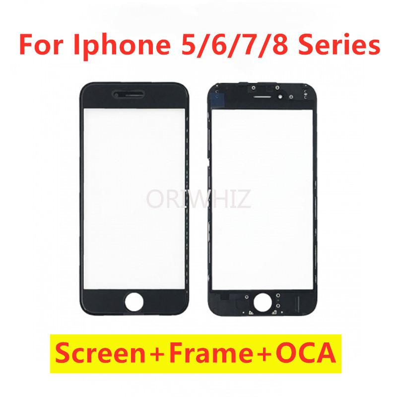 For iPhone 5 5s 6 6s plus 7 plus 8 Plus Repair Parts LCD Touch Screen Glass Display Front Frame + Hot Glue Bezel + OCA