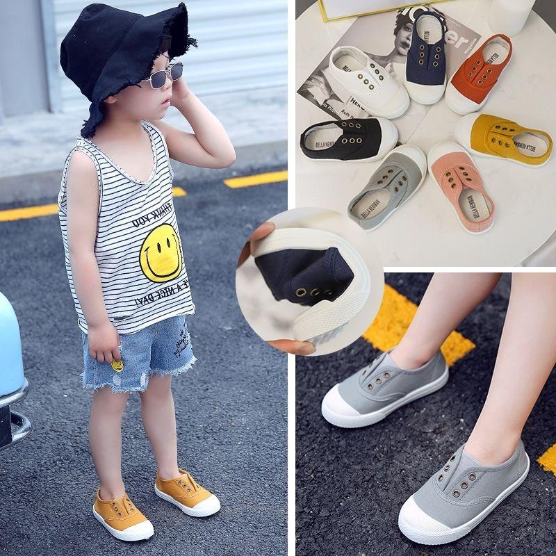 Niños Casuales para niños zapatillas de deporte de la lona Colores de caramelo Pisos para niños pequeños Boys Girls Soft transpirable Moda Venta caliente Calzado 210309