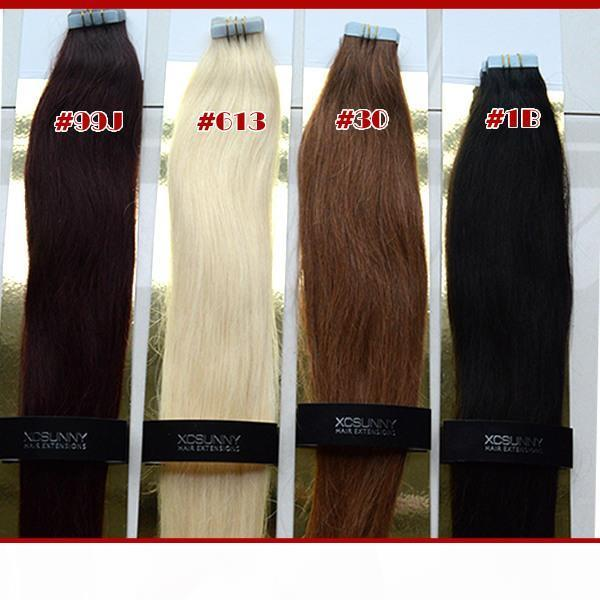 """18"""" 20"""" Tape In Hair Extensions Remy 40 pieces 100g Remy Human Hair Tape In Hair Extensions Straight Tape Extension"""