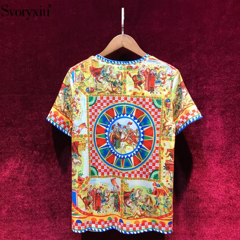 SVORYXIU kadın yaz pamuklu t-shirt yüksek kaliteli pist barok baskı elmas vintage kadınlar üst t-8H1L