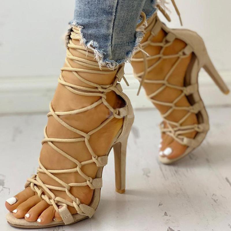 Haute Qualité 2021 Vente chaude Nouveau Design Femme Chaussures Gladiator Talons minces Chaussures à lacets en dehors de la grande taille 43 Sandales de mode Loisirs