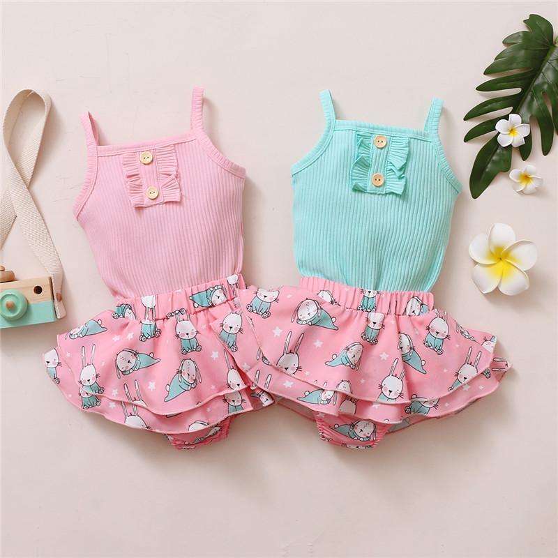 Abbigliamento Set 2pcs Fashion Baby Girls Summer Outfit Born Born Color Solid Colour Senza maniche Rompere + Pantaloncini da stampa Gonna