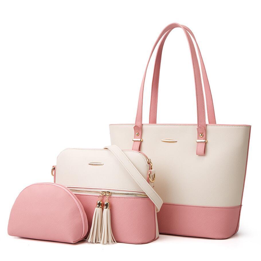 Fashionable Womens Bags Cor Correspondência Design Saco de Ombro Único Lazer Ao Ar Livre Grande Capacidade Três Peda Lady Bolsa