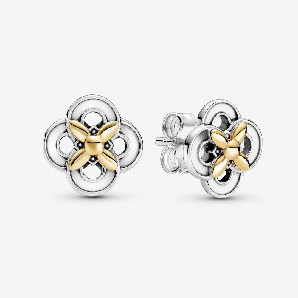 جديد وصول أصيلة 925 فضة ثنائية نغمة زهرة أقراط الأزياء أقراط مجوهرات اكسسوارات للنساء هدية
