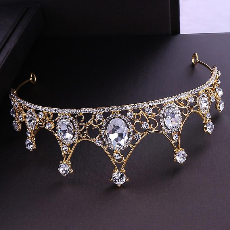Rhinestone de lujo Cristal Tiaras y coronas Cabeza Princesa Noiva Coronal Diadema Diadema Joyería de pelo Accesorios de boda JL