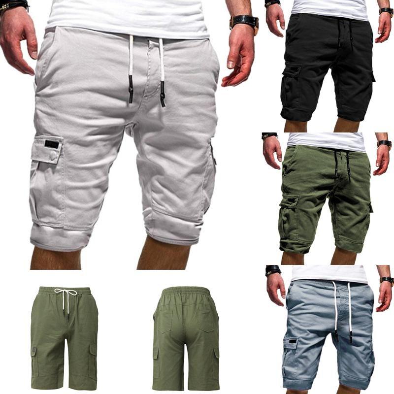 Herren Shorts Mens Cargo Beach Lose Arbeit Casual Kurze Hosen Multi-Pocket Sport Fitness