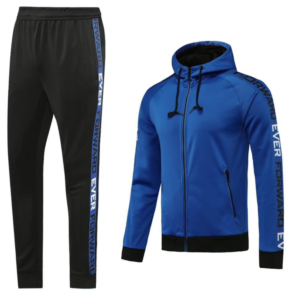 0005 Classic Style Capuche Veste Jerseys Maillot de pied Survèrent Full Zipper Football Taille S-XL