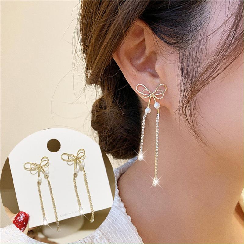 Juwang 2021 INS Venta caliente Vintage Pendientes Pendientes de color oro Lujo Bowknot Pendientes Moda Jewerly para mujeres Pendientes Piercing