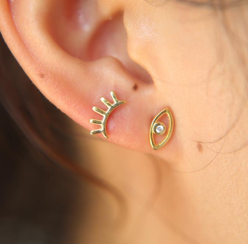 Design Simple Design Tiny Eye Stud Boucles d'oreilles pour femmes Mignon 100% 925 Sterling Sterling Gold Stud Stud Stud Femmes Boucles d'oreilles Mode Bijoux
