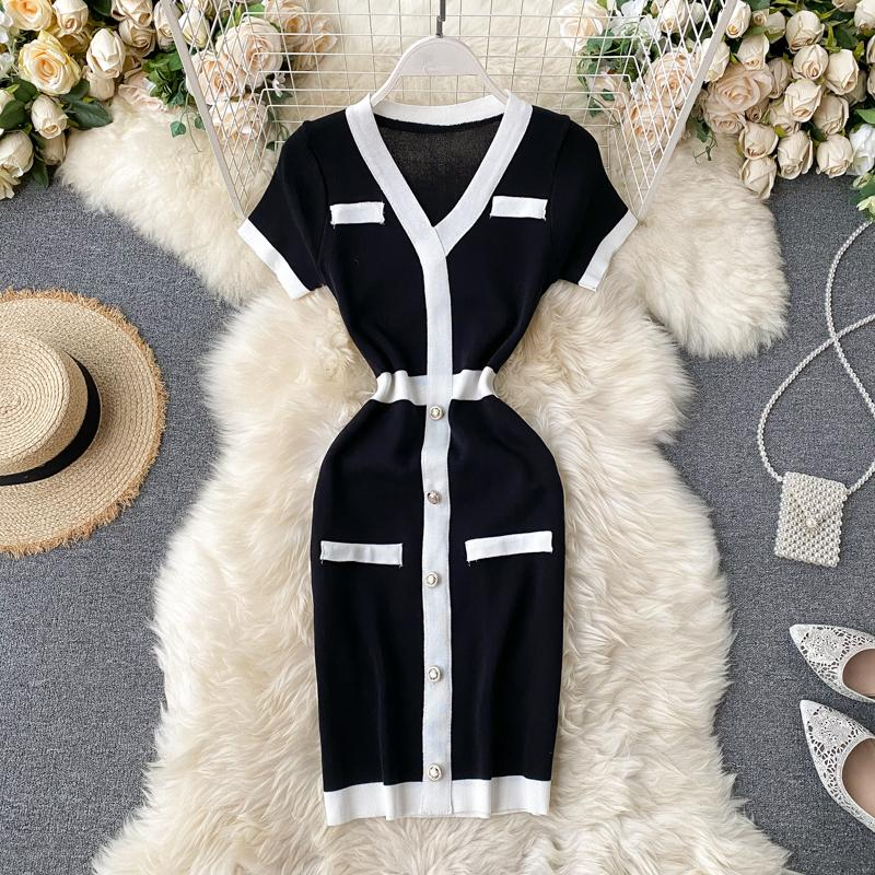Nueva moda de mujer retro elegante soltero pecho mosaico de manga corta con cuello en V de punto de lápiz de lápiz de color bloque de color vestido corto