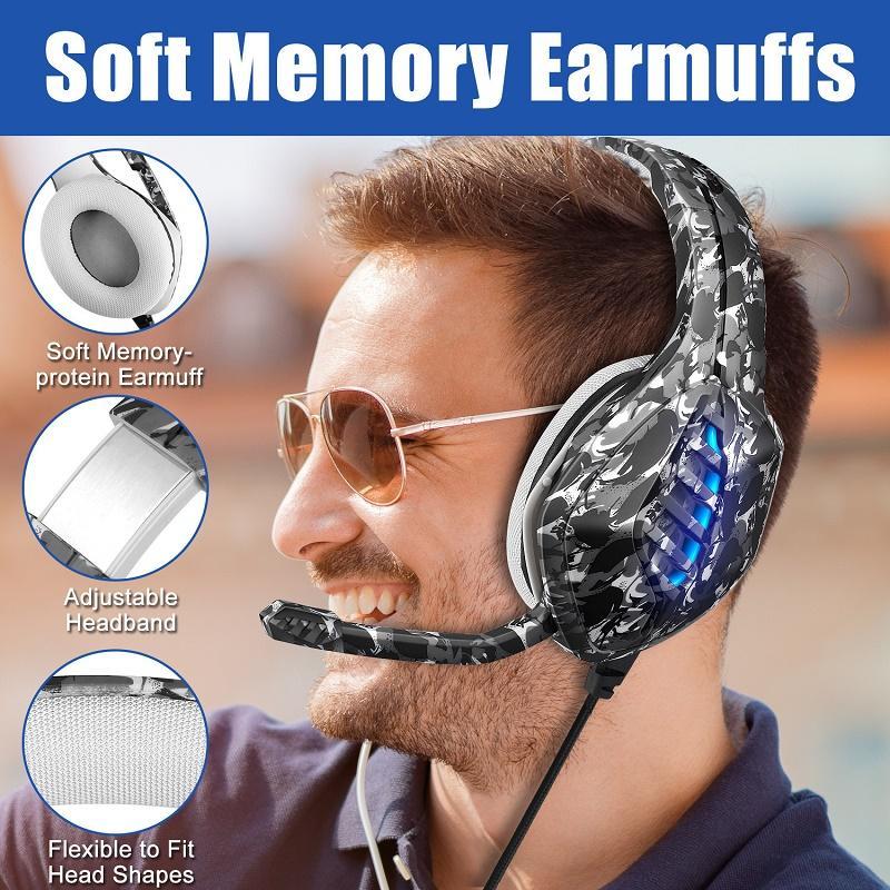Gaming-Kopfhörer mit Mikrofon für PC Xbox PS4 / 5 Controller Noise Cancel-Headset Farbe LED Blitzlicht Bass Surround für Laptop-Spiele