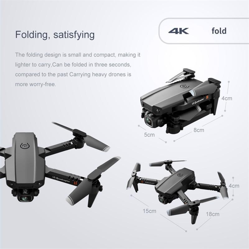 뜨거운 LSRC LS-XT6 미니 WIFI FPV가있는 4K / 1080P HD 듀얼 카메라 고도 개최 모드 Foldable RC Drone Quadcopter RTF